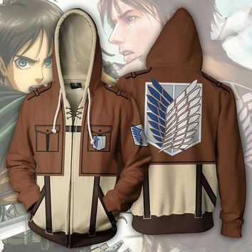 Cool Attack on Titan Anime  Unisex Cosplay Costume Men Women Hoodie Scouting Legion Hooded Jacket Autumn Winter Sweater Coat AT_90_11