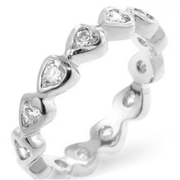 Flis Heart Eternity Stackable Band Ring | 1ct | Cubic Zirconia