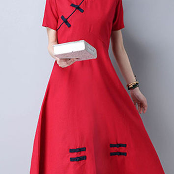 Women Short Sleeve Plate Buckle High Waist Vintage Dresses
