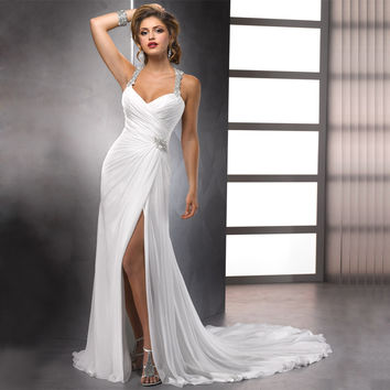 Sexy High Slit Chiffon Wedding Dresses Halter Neck Vestidos de Novia Delicate Beaded Bridal Gowns
