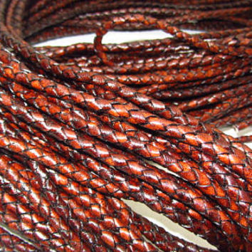 "Leather braided bolo cord....20 yards of antique brown color.....5mm size (1/5"")  206n"