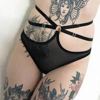 Sexy See Through Strappy Panties, Sheer Mesh Lingerie, Plus Size Bondage Cage Panties, DDLG Lingerie, Anniversary Lingerie Gift for Wife
