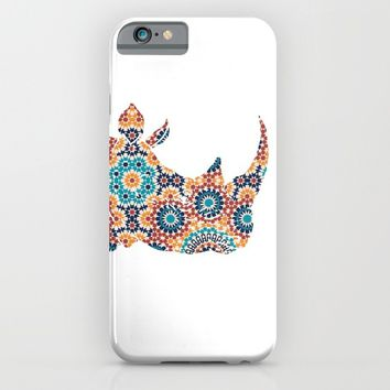 RHINO SILHOUETTE HEAD WITH FLOWER PATTERN iPhone & iPod Case by deificus Art