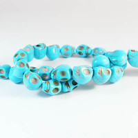 16inch Turquoise Howlite Stone Baby Blue Skull Loose Bead Jewelry Findings for Fashion Necklace Bracelet Earrings Pendant