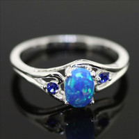 Sterling Silver and Blue Fire Opal Ring