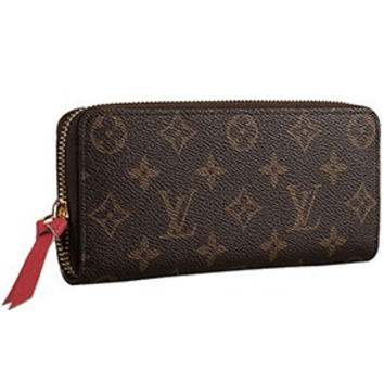 Louis Vuitton Monogram Canvas Zippy Wallet With Rose Leather Zipper Pull 608253