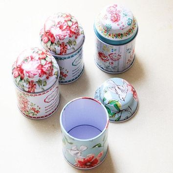 Hot Candy Jar Tin Cans Flower Printed Europe Style Tea Receive Box Storage Boxes Wedding Favor Tin Cable Lovely Home Organizer