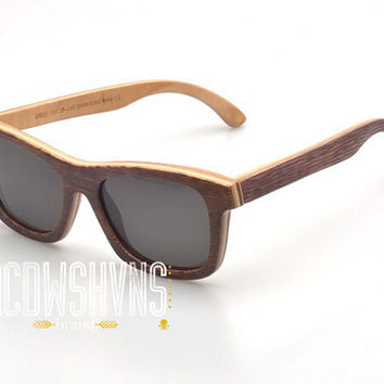 Wood Sunglasses - Eco-Friendly Recycled Wood Grain Skateboard Wood Wayfarer Sunglasses | Hand Made from Recycled Wood