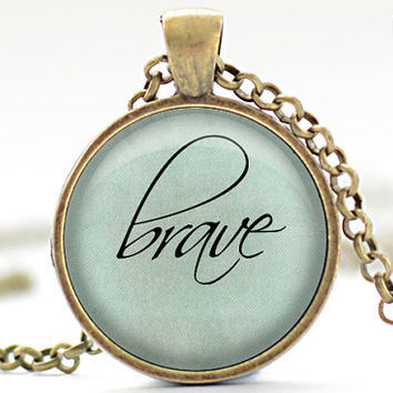 Brave Necklace, Word Jewelry, Inspirational Charm, Pale Blue Pendant, Your Choice of Finish (1139)