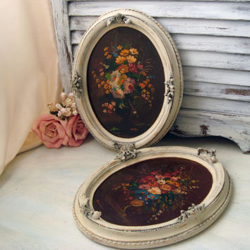 Shabby Chic Vintage Original Signed Floral Oil Paintings with Oval Ornate Frames, Greek Original Paintings, Pair of White Distressed Frames