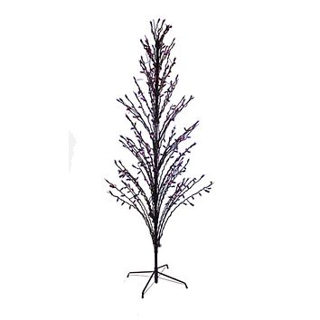 9' Purple LED Lighted Halloween Cascade Twig Tree Outdoor Yard Art Decoration