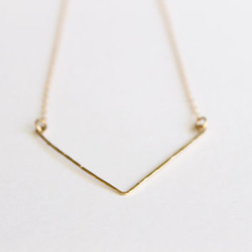 14k Gold Necklace - Chevron Necklace - Hand Forged - Hammered Metal Necklace - Delicate Chevron - Layered Necklace - Bridesmaids Chevron