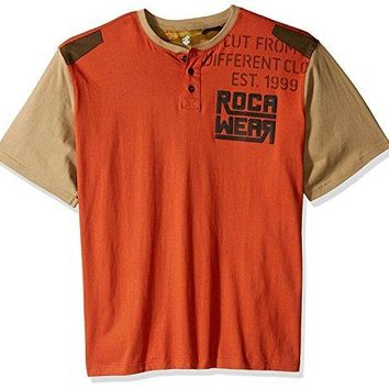 Rocawear Men's Big and Tall Regiment Short Sleeve Henley, Paprika, 2XB