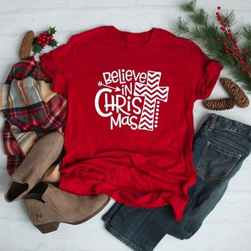 Believe in Christmas Red Unisex Shirt Red Christian cross graphic women fashion faith t-shirt Family Christmas cotton tees tops