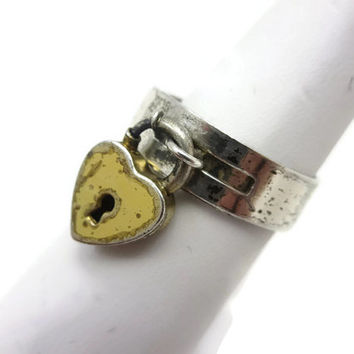 Heart Padlock Ring - Sterling Silver, Heart Lock Ring, Adjustable, Sterling Craft by Coro Jewelry, Key to My Heart, Estate Jewelry