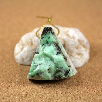 Emerald Druzy Triangle Pendant - Light Green and Black Slightly Rough Top Drilled Focal Bead