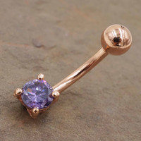 Tanzanite Crystal Rose Gold Belly Button Ring