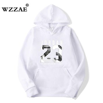 WZZAE Autumn 2018 New Women/Men's Casual Players JORDAN 23 Print Hedging Hooded Fleece Sweatshirt Hoodies Pullover Size S-XXXL