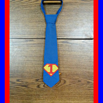 Superman Inspired Children's 1st Birthday tie (velcro, clip on, super hero, red, photo prop)