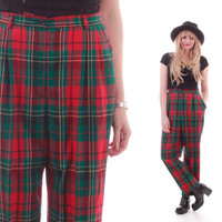 Pendleton Red Green Plaid High Waist Wool Pants Pleated Tapered Trousers 80s 90s Vintage Preppy Goth Hipster Clothing Womens Size Medium