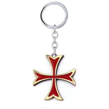 Assassins Creed Keychains The Knights Templar Red Cross Shape Alloy Key Chain For Fans Jewelry Accessories Key Ring llaveros