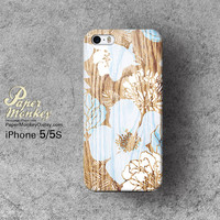 Abstract  blue floral on wood / not real wood, Unique Decoupage case, Samsung galaxy S4, iPhone 5/5S, iPhone 4/4S, iPhone 3Gs case.