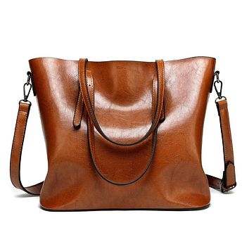 Fashion Women Leather Handbags Lady Large Tote Bag Female Shoulder Bags Bolsas Femininas Sac A Main Brown Black Red