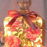 #6 Pink Roses Square Perfume Bottle Nightlight ( Night Light )