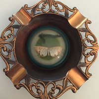 Vintage Brass Metal Ashtray Butterfly Under Dome Glass