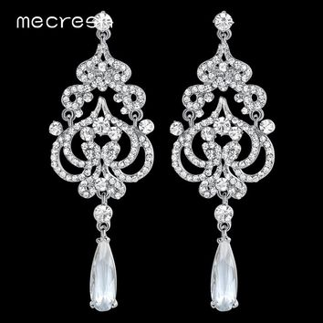 Mecresh Imitated CZ Big Chandelier Wedding Earrings for Bridal Heart Crystal Statement Hanging Brincos Fashion Jewelry EH620