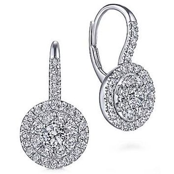 Gabriel Lever Back Round Pave Cluster Halo Dangle Earrings