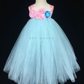 Cute Girls Blue Tutu Dress Baby Fluffy Crochet Tulle Dresses Ball Gown with Pink Flowers Children Party Dress Kids Costume Tutu