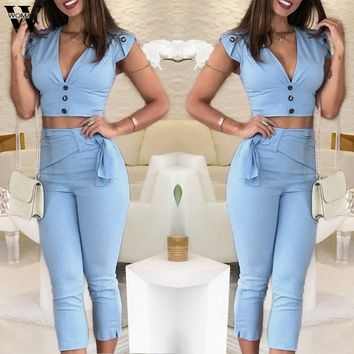 2 Piece Sleeveless Crop top and Capris Styled Pant Set