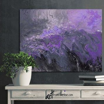 Abstract canvas wall art - Purple plum grey & black bedroom wall decor above bed, art over couch, or bathroom pictures - Large artwork