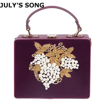 Velour PU Embroidery Flower Beaded Fashion Women Shoulder Handbags Messenger Crossbody Bags Evening Totes Bag Box Clutch Purse