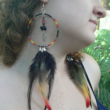zuni bear  dreamcatcher earrings onyx coachella festival earrings Native American inspired  tribal boho belly dancer and hipster style