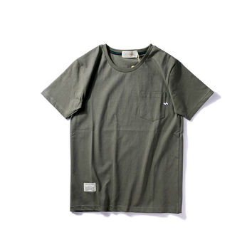 Summer Simple Design Round-neck Short Sleeve Casual Cotton T-shirts [9790785411]