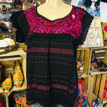 Mexican Oaxaca Blouse Floral Hot Pink Embroidery Black
