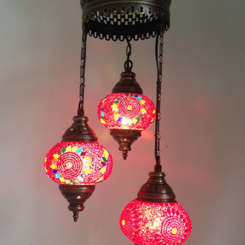 Red Traditional Mosaic Chandelier Lamp with 3 Hand made Mosaic Bulbs, Turkish lamp, Lantern lamp, Romantic lamp, Hanging Lamp, Chandeliers.