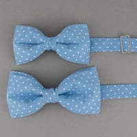Blue Bow Ties for Father & Son Azure Bow Tie Father Son Gift Toddler Bow Tie Wedding Polka Dots Bow Tie Ring Bearer Bow Tie Gift for Father