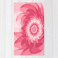 Surreal pink flower Rug by Natalia Bykova