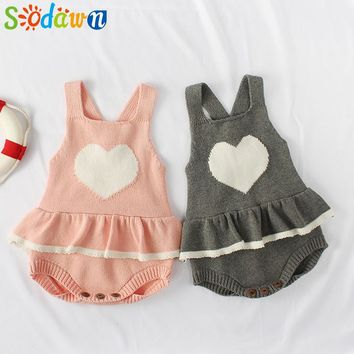 Sodawn 2018 New Spring Autumn Newborn Boy Girl Baby Clothes Knitted Jumpsuit 0-2Y Old Baby Sleeveless Triangle Children Clohting