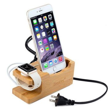 DCK4S2 ZeroElec 15W 3A 3-Port USB Bamboo Wood Charging Station Dual Charging Station for Apple Watch and All iPhones, IOS and Android Phoness