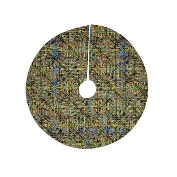 "Miranda Mol ""Tropical Camo Gold"" Gold Yellow Pattern Abstract Digital Mixed Media Tree Skirt"
