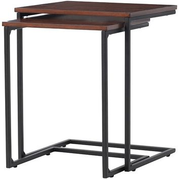 Industrial Mansard Nesting Tables - Set of 2 - Wood Nesting Tables - Nesting Tables | HomeDecorators.com