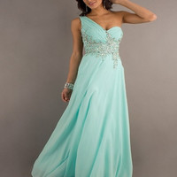 Tidetells  Elegant One Shoulder Floor Length Beading Chiffon Prom Dress TT073 = 1956873028
