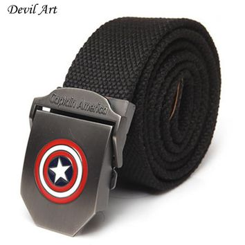 New Captain America Men Canvas  Belt Military Equipment Men's Belts Luxury For Men Jeans Fashion Belt Designer Belts