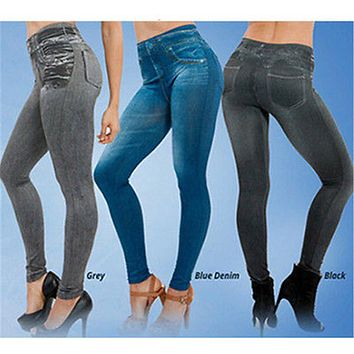 Women Sexy High Waist Jeans Slim Leggings Stretch Skinny Pants Plus Size Long Trousers Jeggings Calzas Deportivas Mujer Fitness