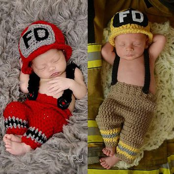 children knitted suit newborn baby photography accessories make up dress suits fireman costume playing