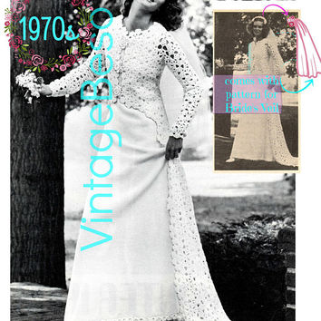 Wedding Gown Ensemble Vintage Knitting & Crochet Pattern 1970s Sleeveless Dress Sleeve Coat Jacket Sweeping Train Veil Instant Download PDF